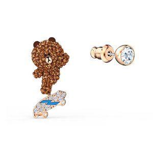 Swarovski Line Friends Vibrant Bear Earrings